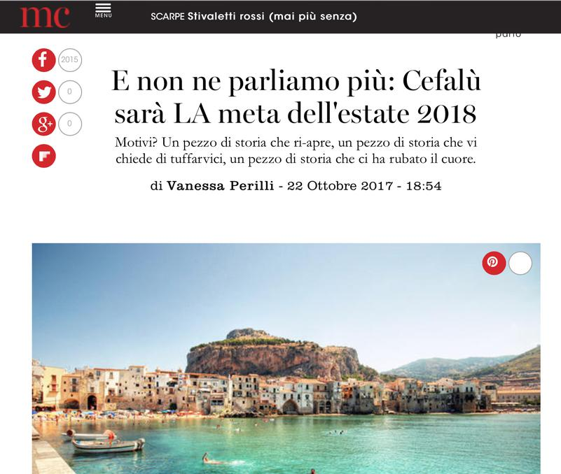 "Cefalù will be the destination of summer 2018 - The famous magazine ""Marie Claire"" says it"